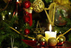 Kaars in Kerstmis Royalty-vrije Stock Afbeeldingen
