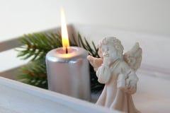 Kaars met engel royalty-vrije stock afbeeldingen