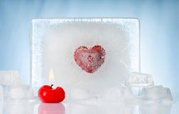 Kaars met ijs Stock Fotografie