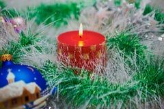 Kaars op cristmas stock afbeelding