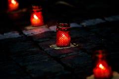 Kaars van Geheugen Kaarsen van geheugen de nacht van 22 Juni close-up 22 juni - het begin van de Grote Patriottische Oorlog Royalty-vrije Stock Fotografie