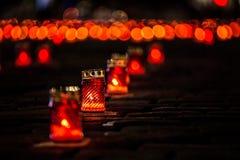 Kaars van Geheugen Kaarsen van geheugen de nacht van 22 Juni close-up 22 juni - het begin van de Grote Patriottische Oorlog Royalty-vrije Stock Foto's