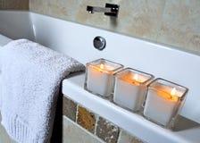 Kaarsen bij kuuroord Royalty-vrije Stock Foto