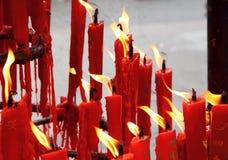 Kaarsen in Chinese Tempel Stock Afbeelding