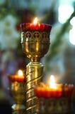 Kaarsen in de kandelaar Stock Foto's