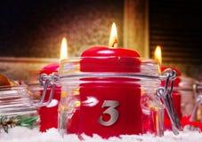 Kaarsen, 3de Komst royalty-vrije stock foto's