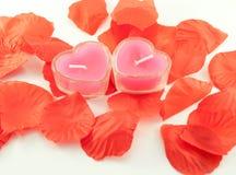 Kaarsen in de vorm van harten en band Royalty-vrije Stock Foto