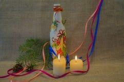 Kaarsen en decoratie Royalty-vrije Stock Afbeelding