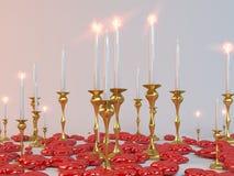 Kaarsen en harten voor minnaars Royalty-vrije Stock Foto's