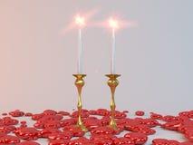 Kaarsen en harten voor minnaars Stock Foto's