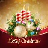 Kaarsen en Kerstmisornamenten Eps 10 Royalty-vrije Stock Foto's