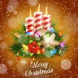 Kaarsen en Kerstmisornamenten Eps 10 Stock Foto's