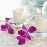 Kaarsen en orchideebloemen Royalty-vrije Stock Fotografie