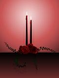 Kaarsen en rozen vector illustratie