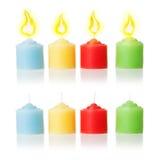 Kaarsen en vlam | Geïsoleerdm Royalty-vrije Stock Fotografie