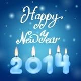 Kaarsen 2014 Gelukkig Nieuwjaar stock illustratie