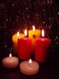 Kaarsen, het stilleven van Kerstmis Stock Foto