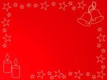 Kaarsen, klokken en sterren stock illustratie