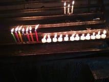 Kaarsen in lijn Royalty-vrije Stock Afbeeldingen