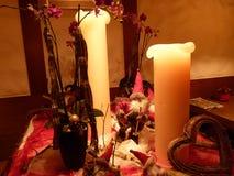Kaarsen met decoratie Stock Fotografie