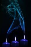 Kaarsen met rook Royalty-vrije Stock Afbeelding