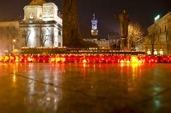 Kaarsen op dag van de hongersnoodslachtoffers in de Oekraïne Stock Foto's