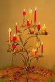 Kaarsen op een lijst Stock Fotografie