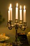 Kaarsen op een lijst Stock Foto's
