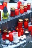 Kaarsen op graf Royalty-vrije Stock Foto