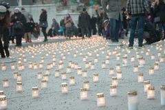 Kaarsen in Tallin Estland stock foto's