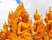 Kaarsfestival Ubon Thailand stock foto's