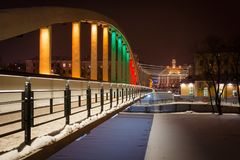 Kaarsild Bridge in Tartu, Estonia, in the colours of Lithuanian flag. To celebrate the 100 years of independence of Lithuania stock images