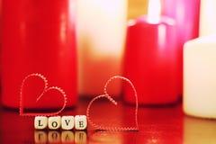 Kaarslicht vastgestelde liefde Stock Fotografie
