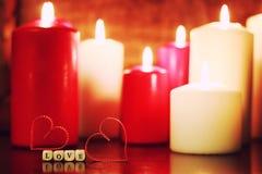 Kaarslicht vastgestelde liefde Royalty-vrije Stock Foto's