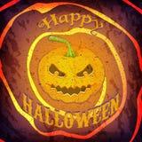 Kaart of affiche van Grunge de de Gelukkige Halloween met pompoen en bericht Royalty-vrije Stock Afbeelding