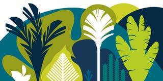 Kaart, banner, uitnodiging met het tropische modelleren, installaties, bomen, heuvels en bergen Behoud van het milieu, ecologie royalty-vrije illustratie