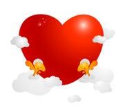 Kaart, beeld of affiche met kleine Engelen die groot rood Valentine-hart houden dat door wolken wordt omringd Liefde, dank, bewon Stock Afbeeldingen