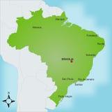 Kaart Brazilië Royalty-vrije Stock Afbeeldingen