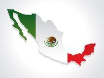 Kaart 3d Mexico stock illustratie
