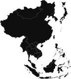 Kaart de Oost- van Azië Stock Afbeelding