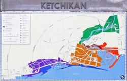 Kaart de Van de binnenstad van de Straat Ketchikan van Alaska royalty-vrije stock foto's