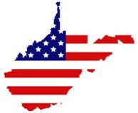 Kaart de West- van Virginia met de vlaggenstaat van de V.S. in het Appalachian gebied van de Zuidelijke Verenigde Staten royalty-vrije illustratie