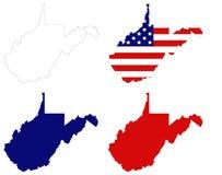 Kaart de West- van Virginia met de vlaggenstaat van de V.S. in het Appalachian gebied van de Zuidelijke Verenigde Staten stock illustratie