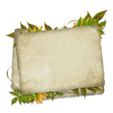 Kaart die door samenstelling van bladeren wordt verfraaid Royalty-vrije Stock Fotografie