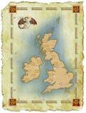 Kaart in eeuwenoude stijl met een draak Stock Illustratie