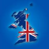 Kaart en de vlag van het Verenigd Koninkrijk Royalty-vrije Stock Fotografie