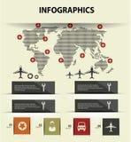 Kaart en infographics van het vervoerconcept Stock Afbeelding