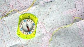 Kaart en kompas Royalty-vrije Stock Afbeelding
