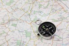 Kaart en kompas Stock Foto