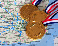 Kaart en medailles Stock Fotografie